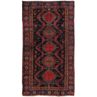 Lori Vintage Lambs Wool Hand-Knotted Black/Red Area Rug
