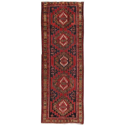 Lori Vintage Lambs Wool Hand-Knotted Navy/Red Area Rug