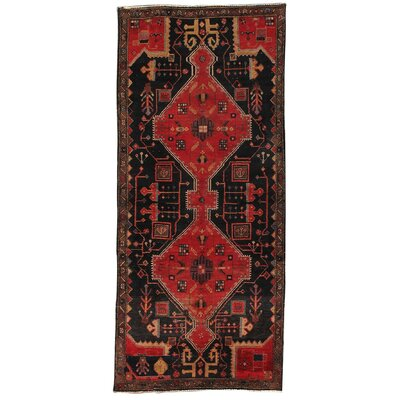 N.w Vintage Lamb's Wool Hand-Knotted Black/Red Area Rug