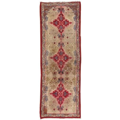 Lilian Vintage Lamb's Wool Hand-Knotted Beige Area Rug