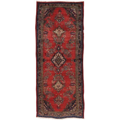 Sarouk Vintage Lambs Wool Hand-Knotted Red Area Rug