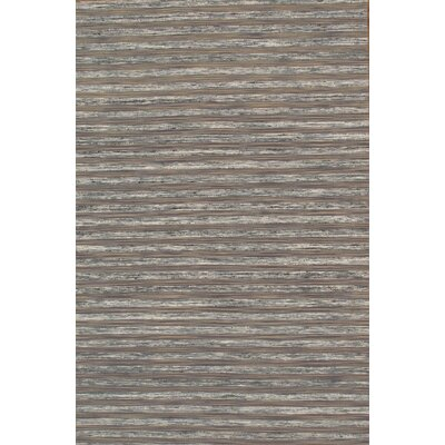Modern Sari Silk Hand-Loomed Gray Area Rug Rug Size: 7 9 x 9 9