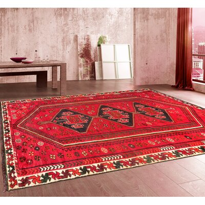 Lori Vintage Lambs Wool Hand-Knotted Red/Black Area Rug