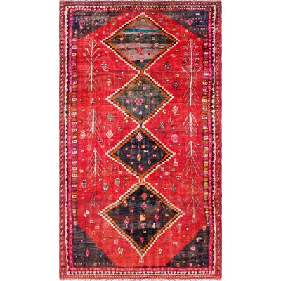 Shiraz Vintage Lambs Wool Hand-Knotted Red/Black Area Rug
