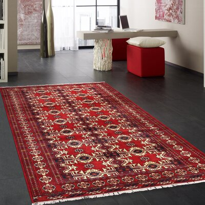 Balouch Vintage Lambs Wool Hand-Knotted Red/Ivory Area Rug