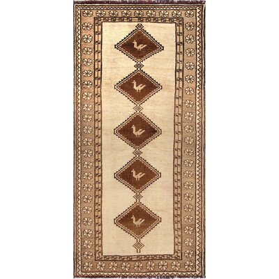 Mashad Vintage Lambs Wool Hand-Knotted Beige/Brown Area Rug
