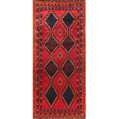 Lori Vintage Lambs Wool Runner Hand-Knotted Black/Red Area Rug