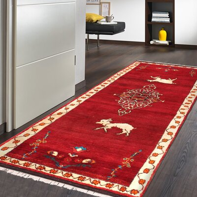 Gabbeh Vintage Lambs Wool Runner Hand-Knotted Red/Black Area Rug