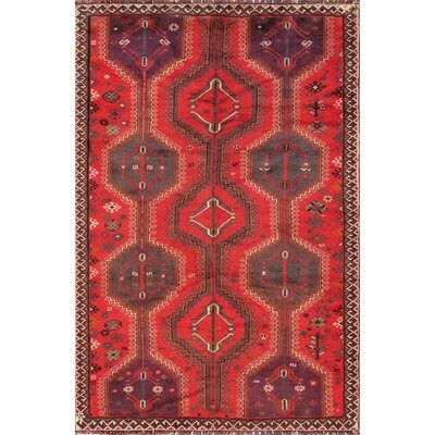 Shiraz Vintage Lambs Wool Hand-Knotted Red/Gray/Purple Area Rug