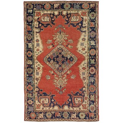 Sivas Lambs Wool Hand-Knotted Blue/Orange Area Rug