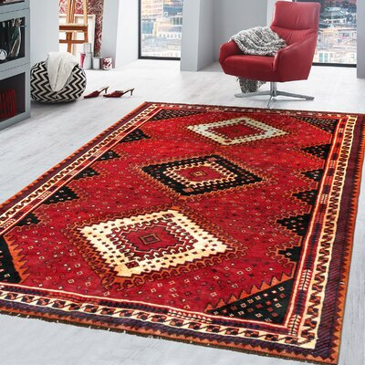 Shiraz Vintage Lambs Wool Hand-Knotted Black/Red/Ivory Area Rug
