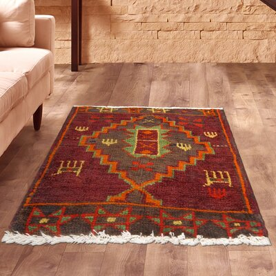Lori Vintage Lambs Wool Hand-Knotted Red/Brown/Green Area Rug