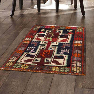 Lori Vintage Hand-Knotted Navy/Tan/Red Area Rug