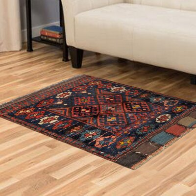 Qashqai Vintage Wool Hand-Knotted Blue/Red/Black Area Rug