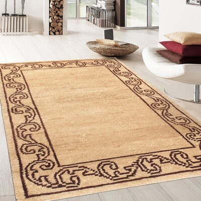 Modern Lambs Wool Hand-Knotted Beige/Brown Area Rug
