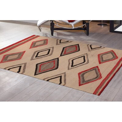 Vintage Kilim Hand-Woven Wool Beige/Black/Red Area Rug