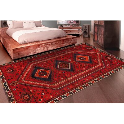 Shiraz Vintage Lambs Wool Hand-Knotted Red/Navy Area Rug