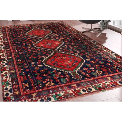 Bakhtiari Vintage Hand-Knotted Red/Blue/Green Area Rug