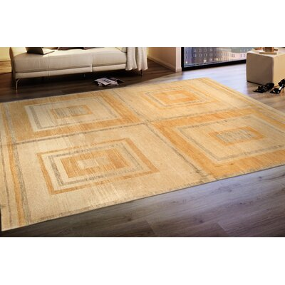 Vintage Modern Lambs Wool Hand-Knotted Beige Area Rug