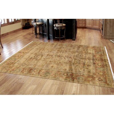 Sultanabad Vintage Lambs Wool Hand-Knotted Camel Area Rug
