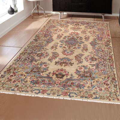 Kerman Vintage Hand-Knotted Ivory/Purple/Blue Area Rug