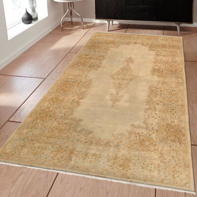 Kerman Vintage Lambs Wool Hand-Knotted Camel Area Rug
