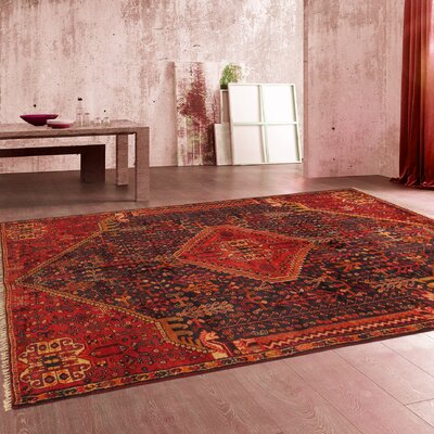Qashqai Vintage Lambs Wool Hand-Knotted Red/Brown Area Rug