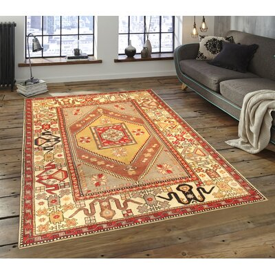 Oushak Hand-Knotted Tan Area Rug
