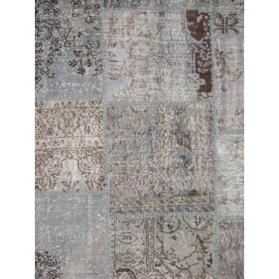 Patchwork Wool Hand-Knotted Gray Area Rug