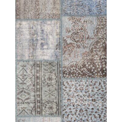 Patchwork Wool Hand-Knotted Blue/Brown Area Rug