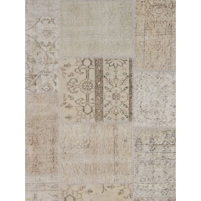 Patchwork Wool Hand-Knotted Beige Area Rug