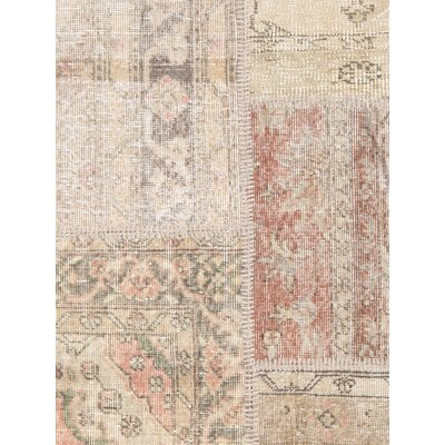 Patchwork Wool Hand-Knotted Brown/Pink Area Rug