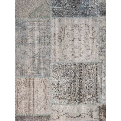 Patchwork Wool Hand-Knotted Blue/Gray Area Rug