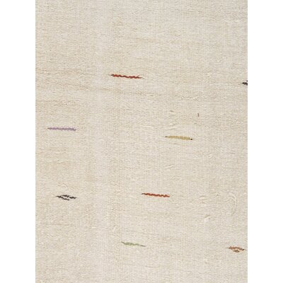 Turkish Kilim Hemp Hand-Woven Ivory Area Rug