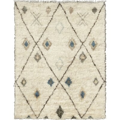 Moroccan Hand-Knotted Beige/Brown Area Rug Rug Size: 6 x 8
