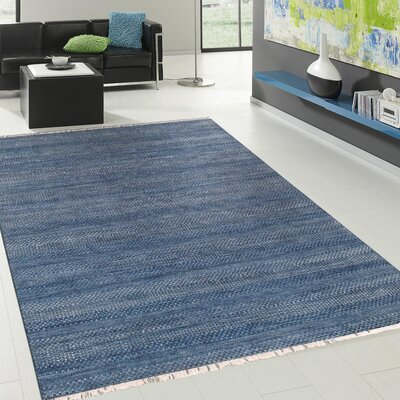 Pasargad Hand-Knotted Silk and Wool Blue Area Rug Rug Size: 79 x 98