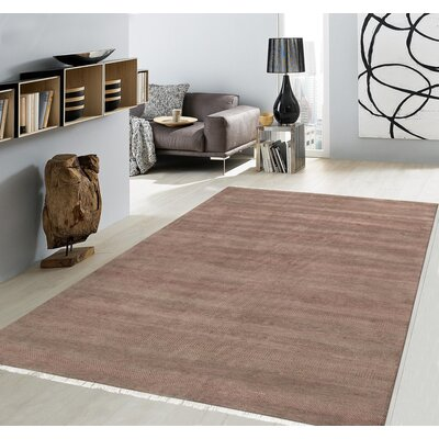 Pasargad Hand-Knotted Silk and Wool Brown Area Rug