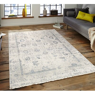 Pasargad Hand-Knotted Silk and Wool Beige/Gray Area Rug