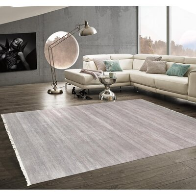 Pasargad Hand-Knotted Silk and Wool Gray Area Rug