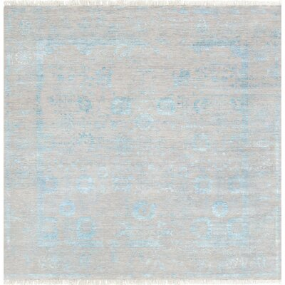 Pasargad Hand-Knotted Silk and Wool Beige/Blue Area Rug