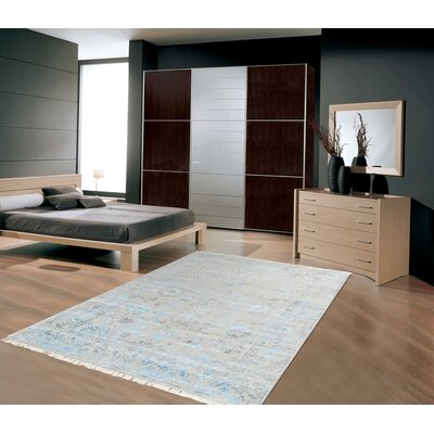 Pasargadl Hand-Knotted Silk and Wool Beige Area Rug