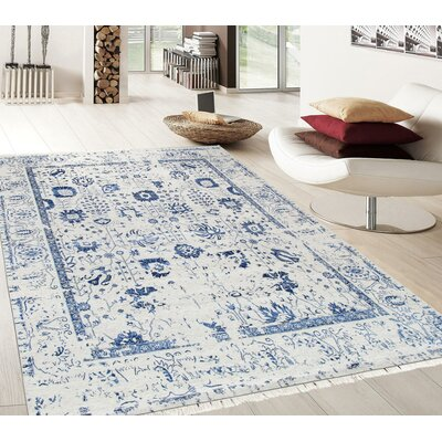 Pasargad Hand-Knotted Silk and Wool Beige/Blue Area Rug Rug Size: 91 x 121