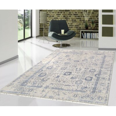 Pasargad Hand-Knotted Silk and Wool Beige/Blue Area Rug Rug Size: 81 x 101