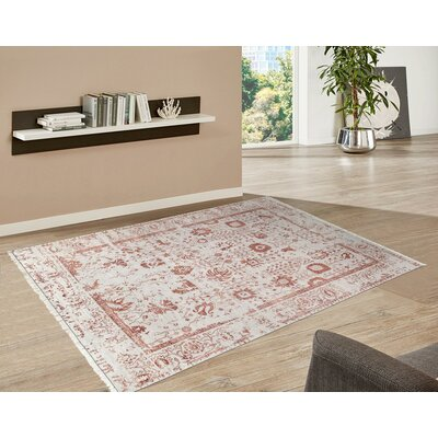 Pasargad Hand-Knotted Silk and Wool Beige/Red Area Rug