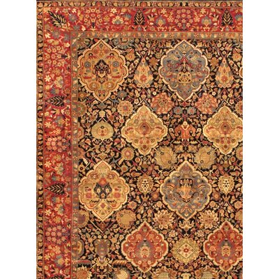 Kerman Hand-Knotted Navy Area Rug Rug Size: Rectangle 6 x 9