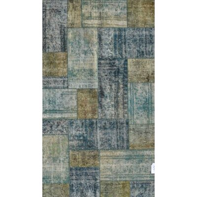 Patchwork Hand Knotted Wool Gray/Gold Area Rug