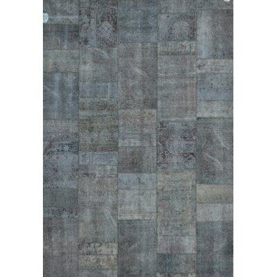 Patchwork Hand Knotted Wool Gray/Blue Area Rug