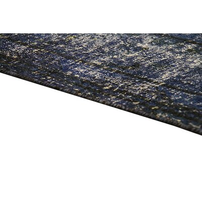 Overdyed Vintage Hand Knotted Wool Blue Area Rug