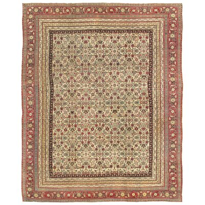 Agra Antique Hand Knotted Wool Ivory/Burgundy Area Rug