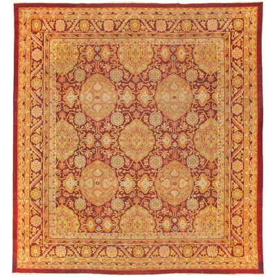Agra Antique Hand Knotted Wool Burgundy Area Rug